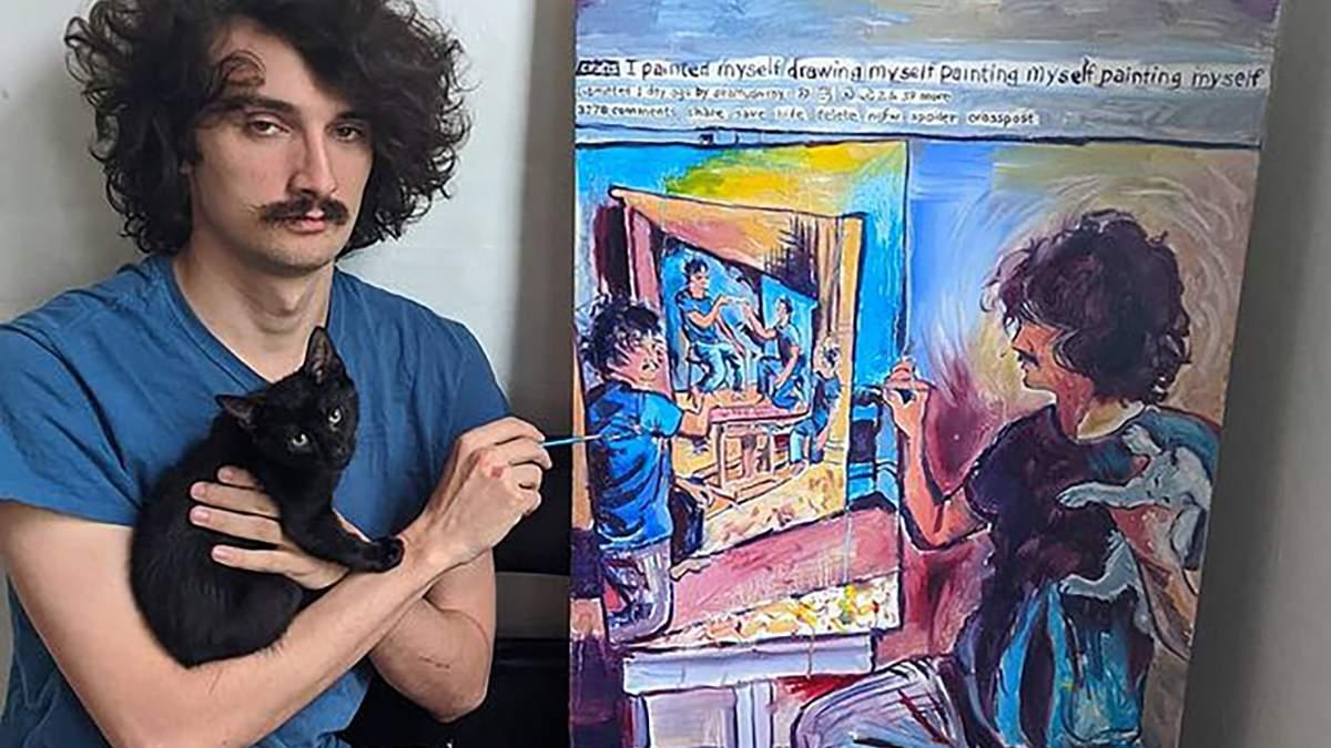 Художник рисует серию автопортретов