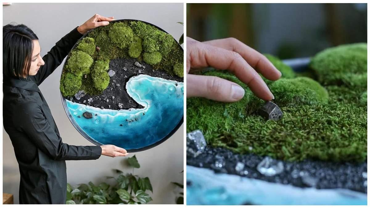 Майстриня створює живі картини з моху та папороті
