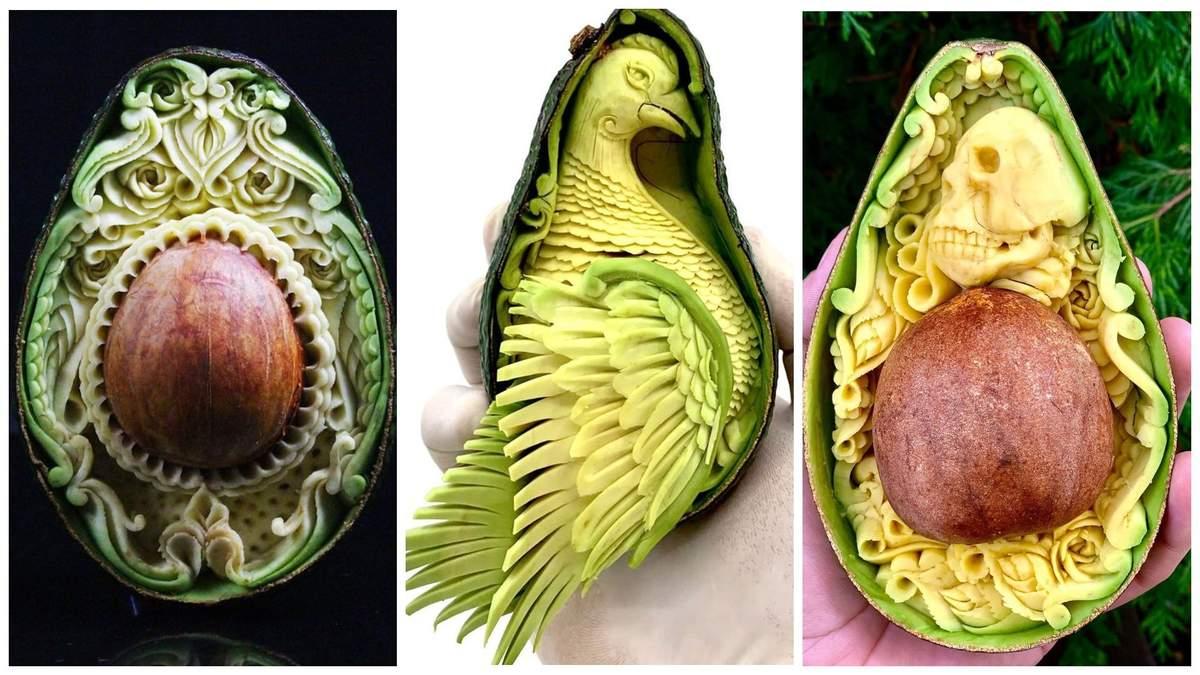 Мастер вырезает удивительные скульптуры из авокадо