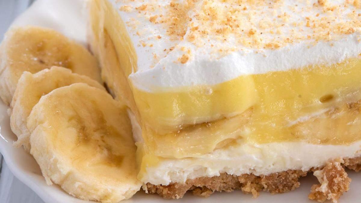 Рцепт дієтичного сирного пирога з бананами
