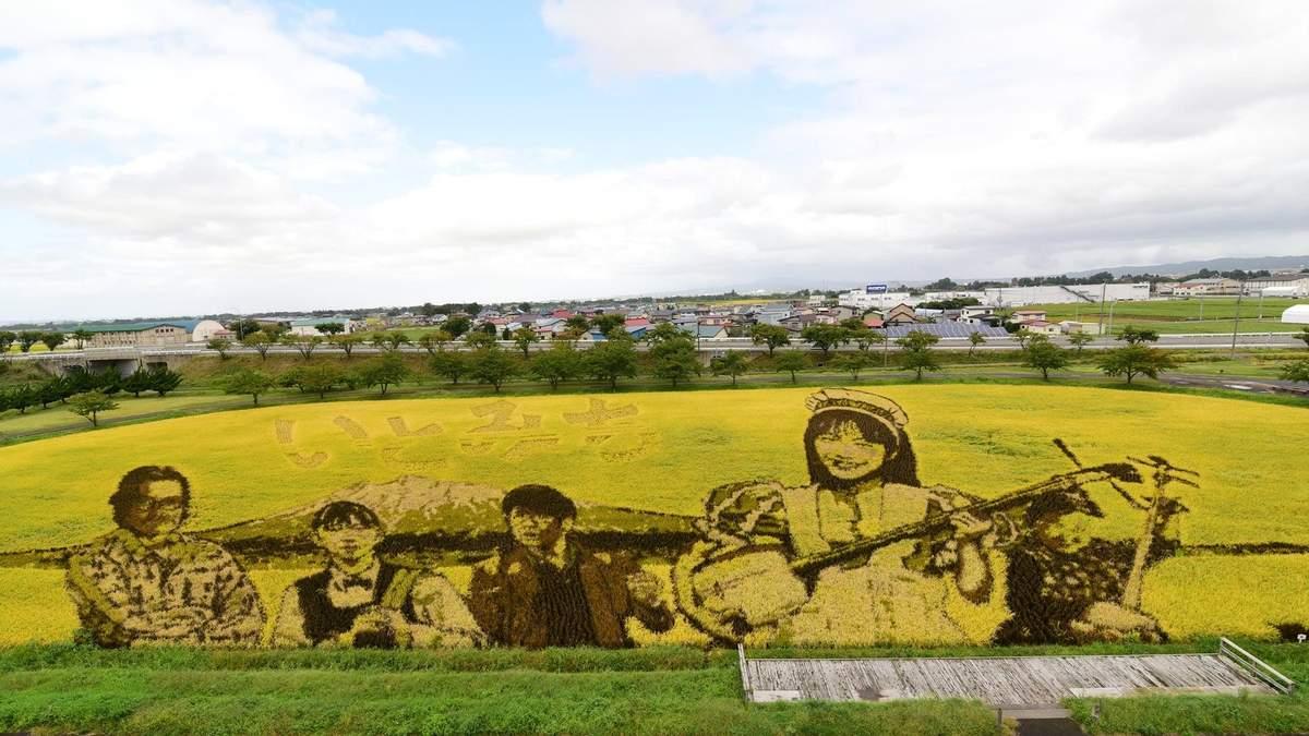 Рисові шедеври: в японському селі щороку перетворюють поля в картини - Ідеї