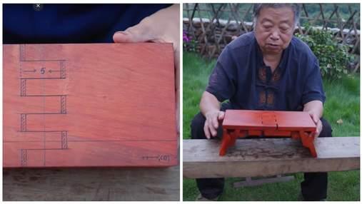 Ні клей, ні цвяхи не потрібні: тесля майструє з дерева розкладні табурети