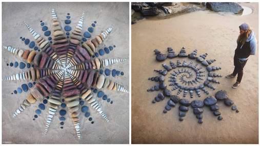 Британский художник создает на побережье невероятные каменные композиции
