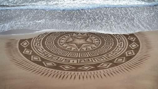 Художник создает невероятные рисунки-однодневки: его произведения уничтожает океан